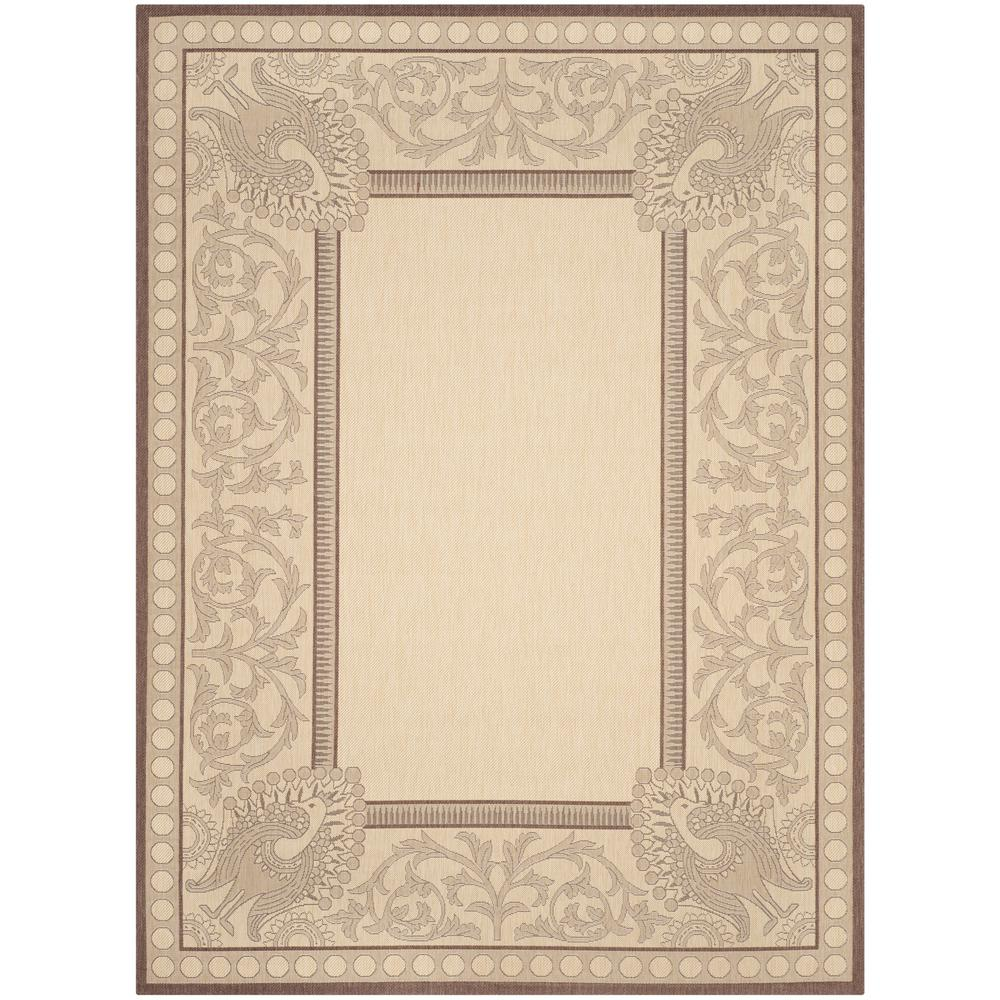 Safavieh Courtyard Natural/Chocolate 5 ft. 3 in. x 7 ft. 7 in. Indoor/Outdoor Area Rug