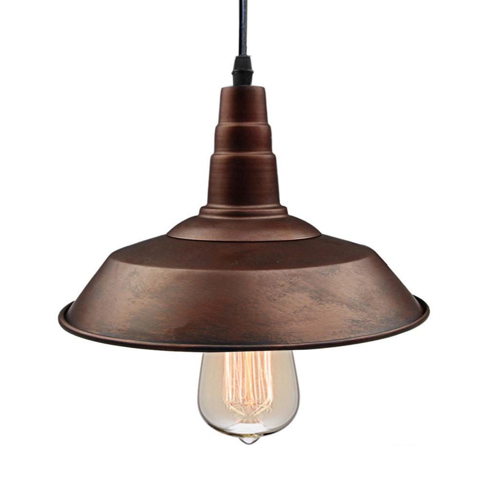 1-Light Rust Indoor Hanging Pendant Light