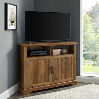 Reclaimed Barnwood Corner TV Console For TV's up to 48 in. with Grooved Door