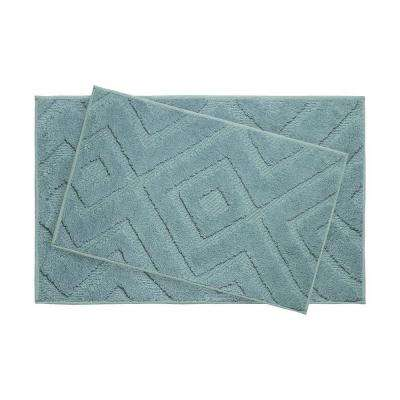 Lilah Arctic Blue 21 in. x 34 in. 2-Piece Bath Mat Set