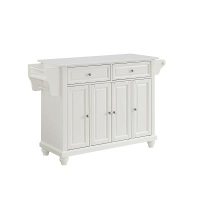 Cambridge White With Granite Top Full Size Kitchen Island