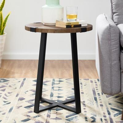 18 in. Dark Walnut Rustic Urban Industrial Wood and Metal Wrap Round Accent Side Table