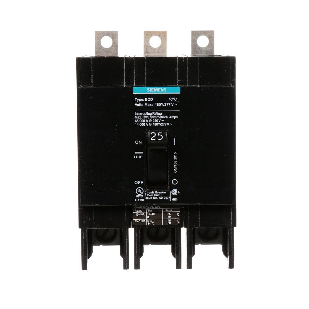 siemens 25 amp triple pole type bqd bolt on circuit breaker bqd325 the home depot. Black Bedroom Furniture Sets. Home Design Ideas
