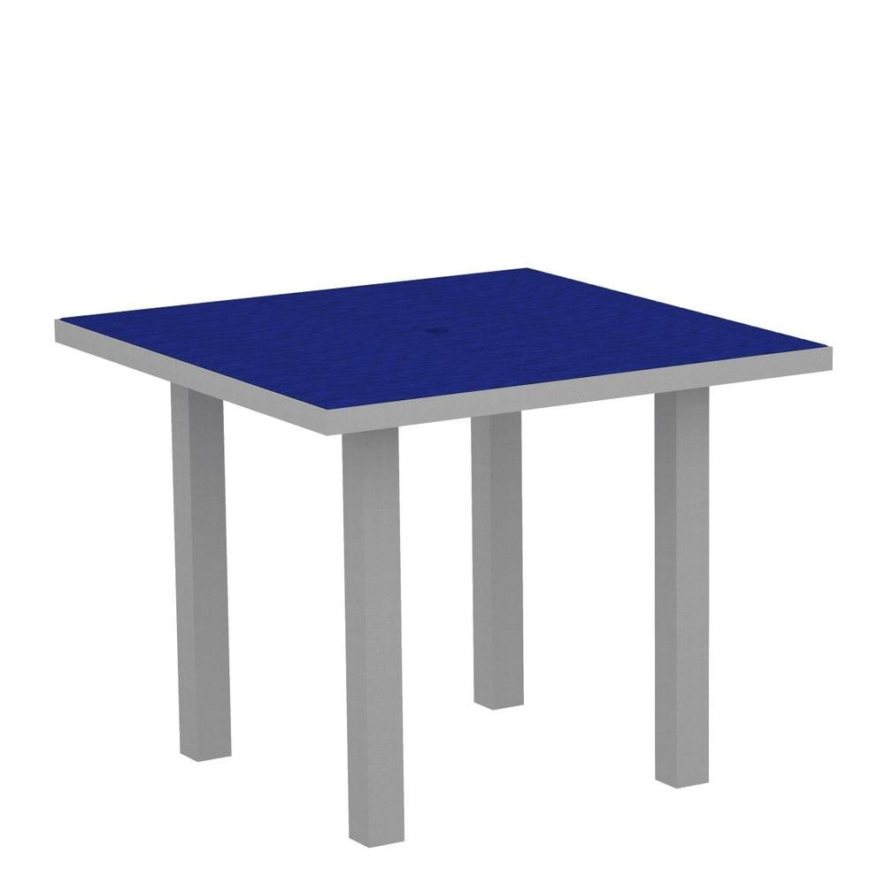 POLYWOOD Euro Textured 36 in. Silver Square Patio Dining Table with Pacific Blue Top