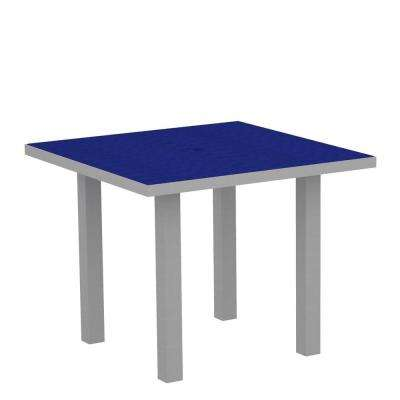 Euro Textured 36 in. Silver Square Patio Dining Table with Pacific Blue Top