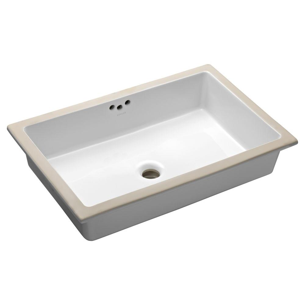 Kathryn Vitreous China Undermount Bathroom Sink In White With Overflow Drain