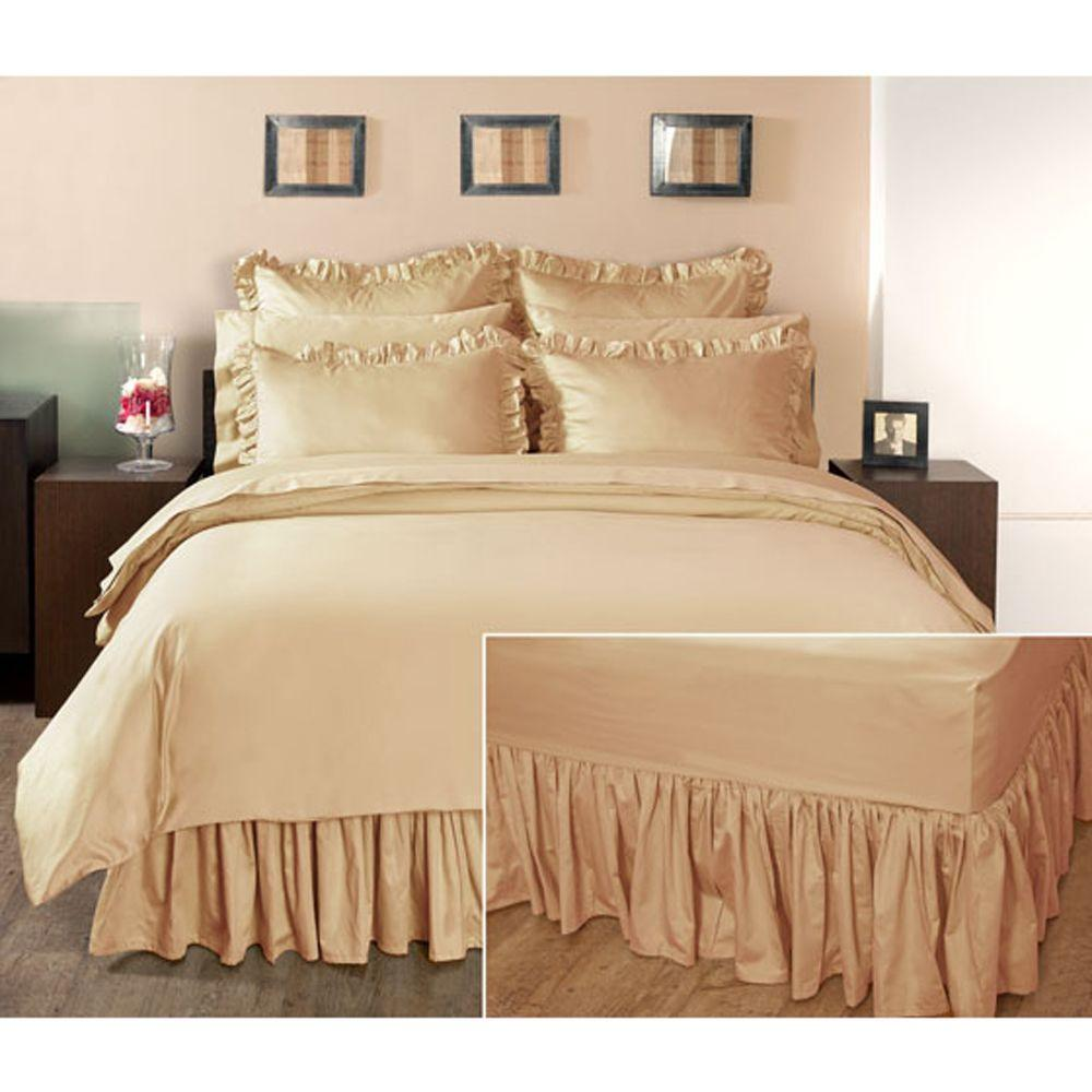 Home Decorators Collection Ruffled Craft Brown Full Bedskirt
