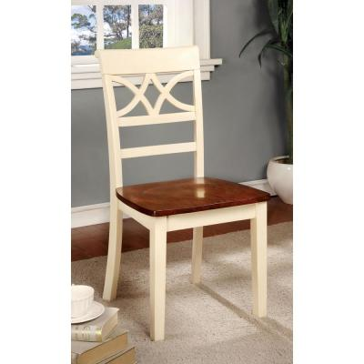 Torrington Vintage White and Cherry Country Style Side Chair