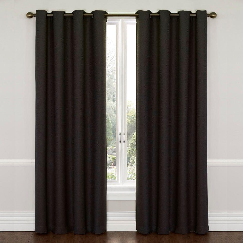 Eclipse Wyndham Blackout Jet Black Curtain Panel, 84 in. Length