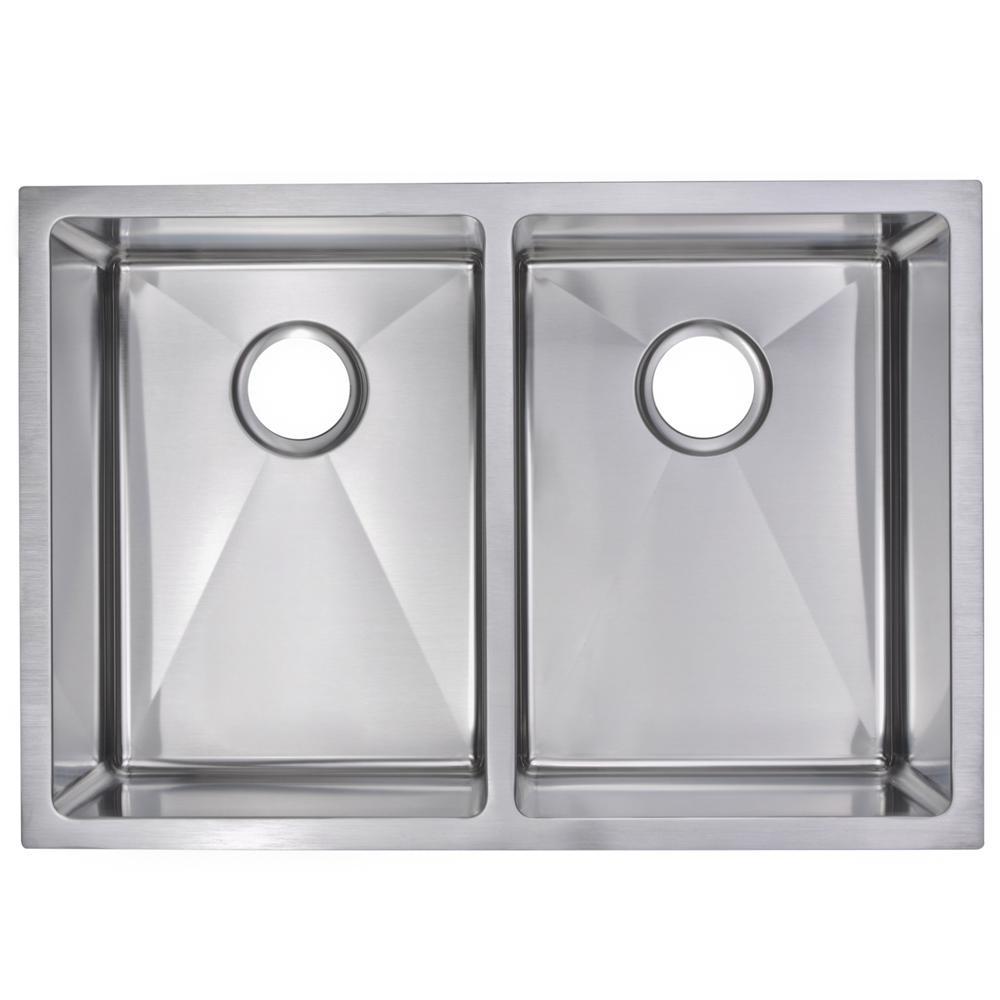 Undermount Stainless Steel 29 in. 50/50 Double Bowl Kitchen Sink in Satin