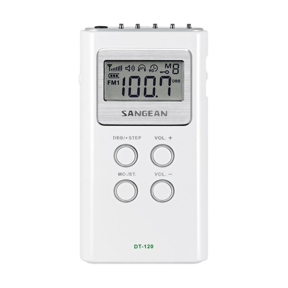 Sangean Ultra Compact FM/AM Stereo Pocket Radio, White