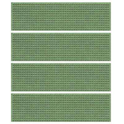 Light Green 8.5 in. x 30 in. Squares Stair Tread Cover (Set of 4)
