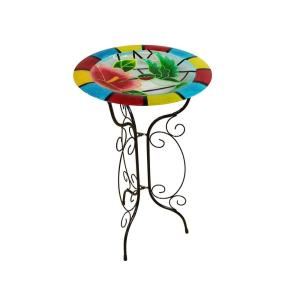 Alpine 18 inch Glow in the Dark Glass Hummingbird Birdbath by Alpine