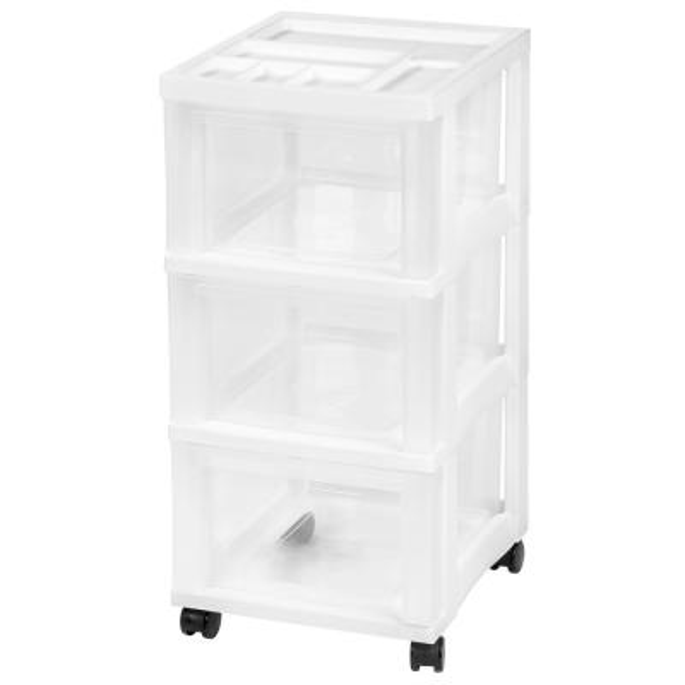 12.05 in. x 26.44 in. White Medium 3-Drawer Cart with Organizer Top
