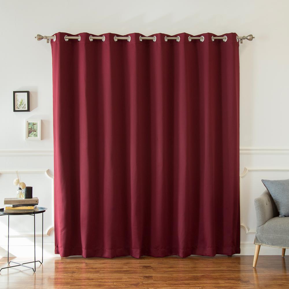 Wide Width Basic Silver 100 in W. x 96 in. L Grommet Blackout Curtain in Burgundy