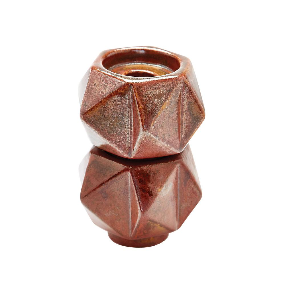 Small Ceramic Star Candle Holder Russet (Set of 2), Brown...