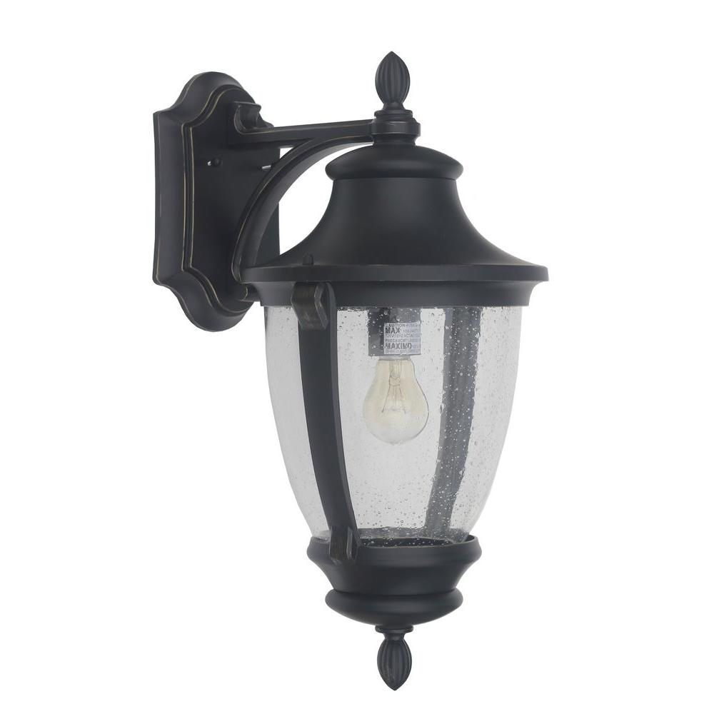 Home Decorators Collection Wilkerson 1-Light Black Outdoor Wall ...