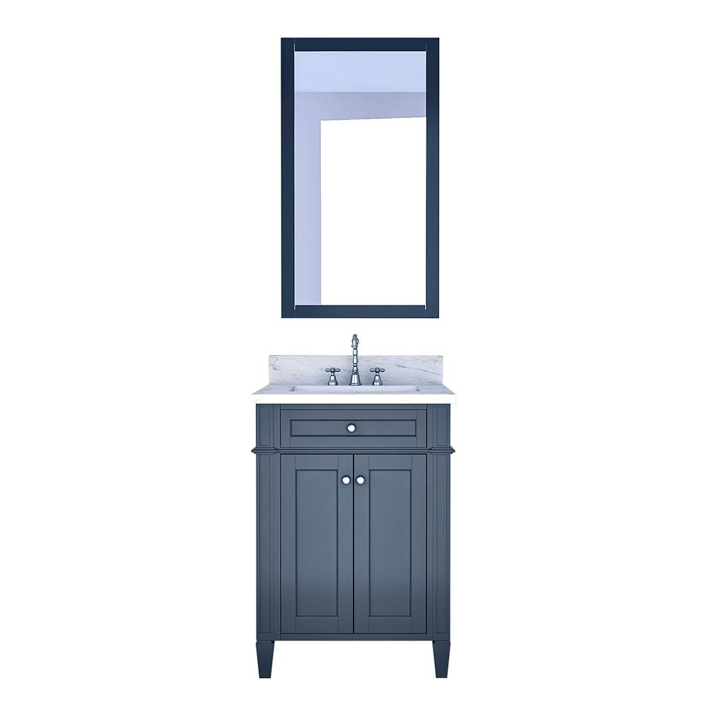 Design Element Birmingham 24 in. W x 22 in. D Bath Vanity in Gray with Marble Vanity Top in White with White Basin and Mirror