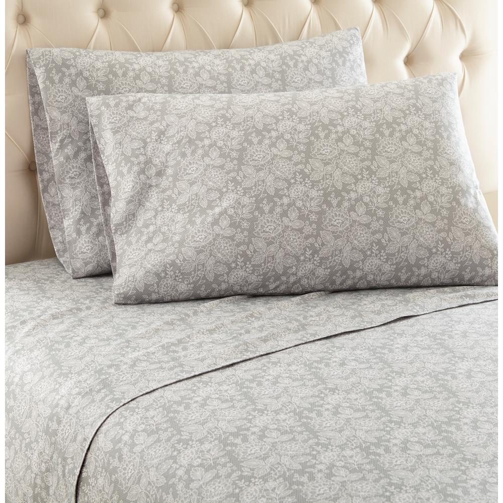 Micro Flannel 4-Piece Enchantment Grey Floral King Sheet Set