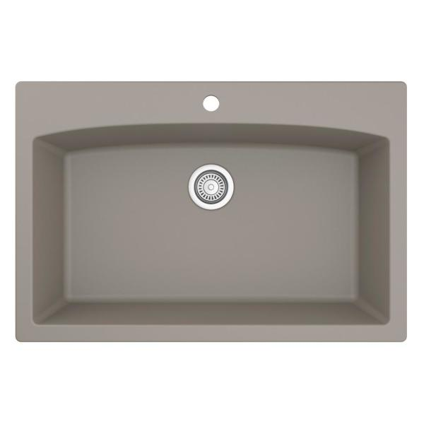 Drop-In Quartz Composite 33 in. 1-Hole Single Bowl Kitchen Sink in Concrete