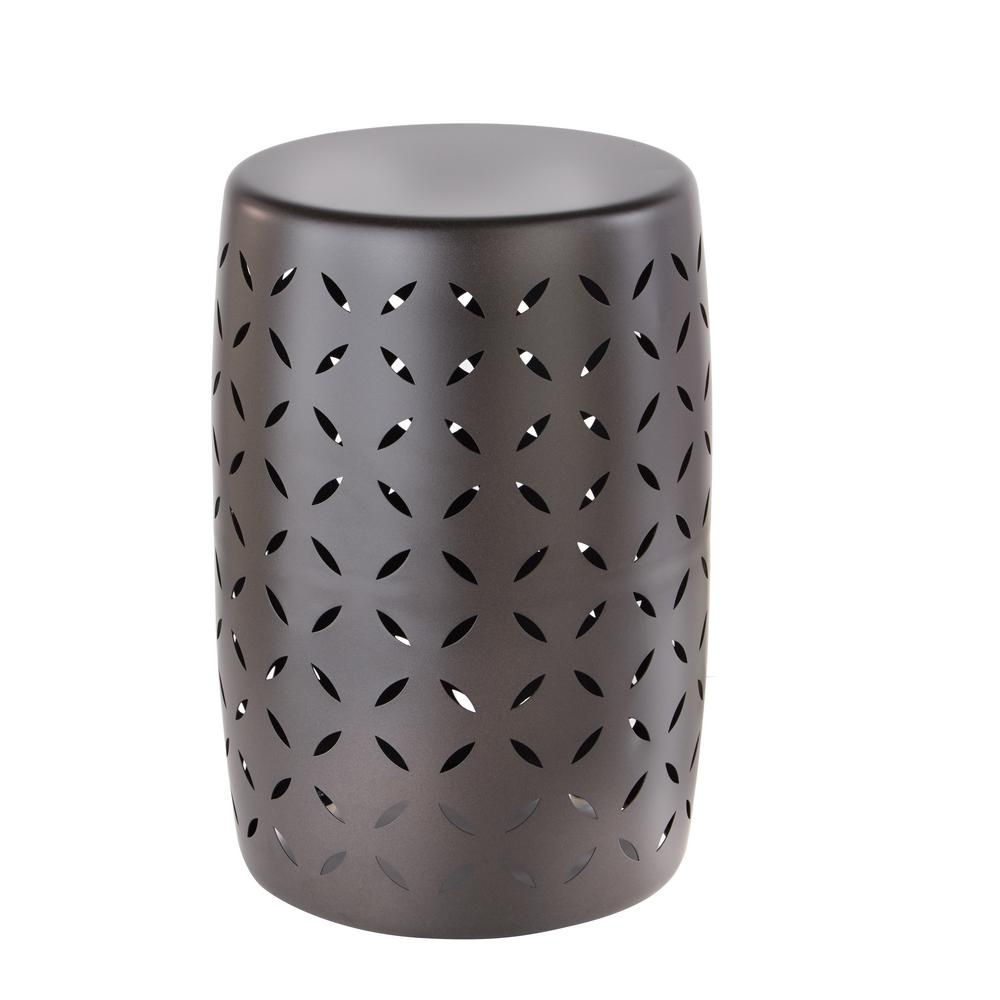 Charmant Hampton Bay Metal Garden Stool With Geo Pattern In Seville Bronze