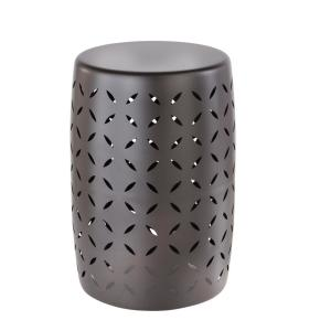Metal Garden Stool with Geo Pattern in Seville Bronze