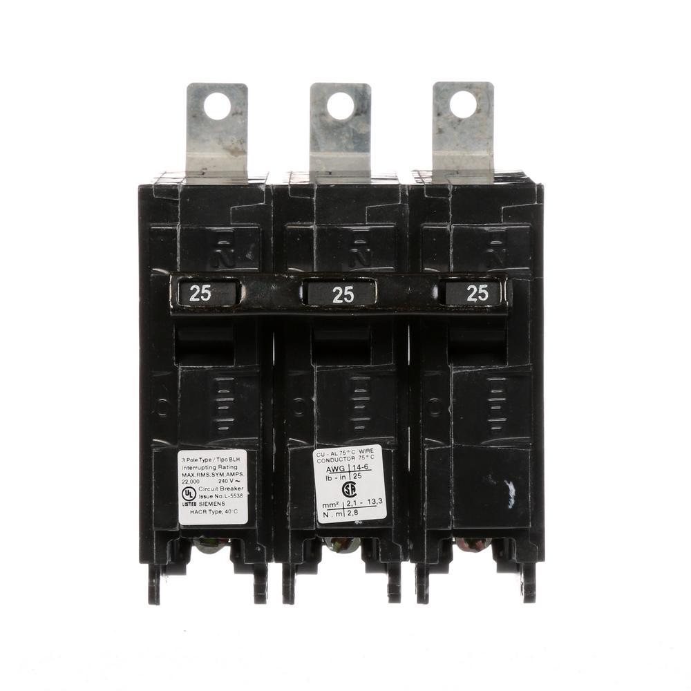25 Amp 3-Pole Type BLH 22 kA Circuit Breaker