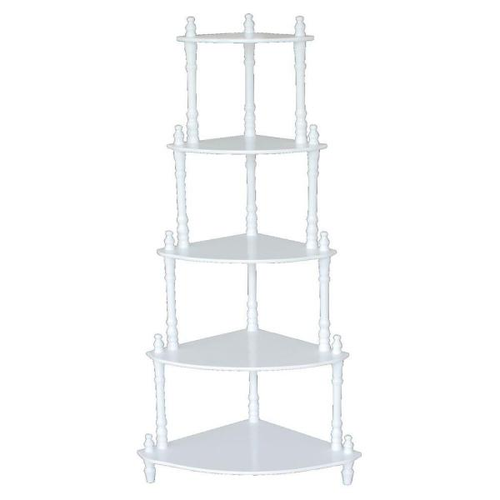5-Tier Corner Decorative Shelving Rack in White