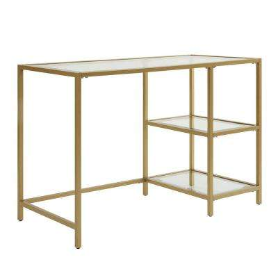 Marcello Gold Writing Desk with Shelves