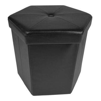 15 in. x 15 in. x 15 in. Black Faux Leather Collapsible Hexagon Storage Ottoman