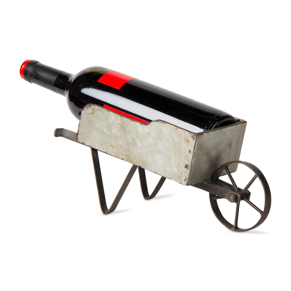 Tag 1 Bottle Gray Wheelbarrow Galvanized Metal Wine Bottle Holder