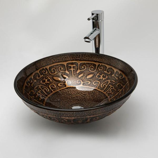 Roswell Bronze Glass Circular Vessel Bathroom Sink Without Faucet 80316 Gbs Br The Home Depot