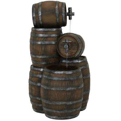 29 in. Stacked Rustic Barrel Outdoor Cascading Water Fountain with LED Lights