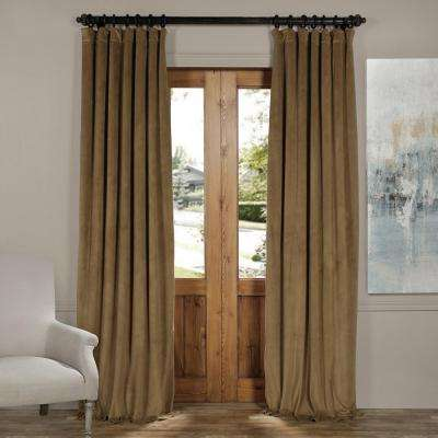 Blackout Signature New Fawn Blackout Velvet Curtain - 50 in. W x 84 in. L (1 Panel)