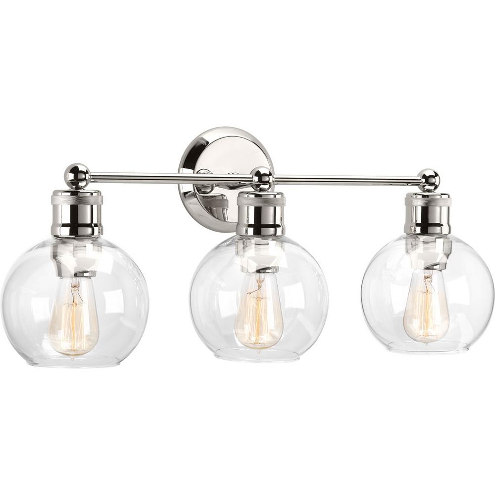 Bathroom Vanity Lighting Double Hansford Collection 3light Polished Nickel Bathroom Vanity Light With Clear Globe Shades The Home Depot Progress Lighting Hansford Collection 3light Polished Nickel