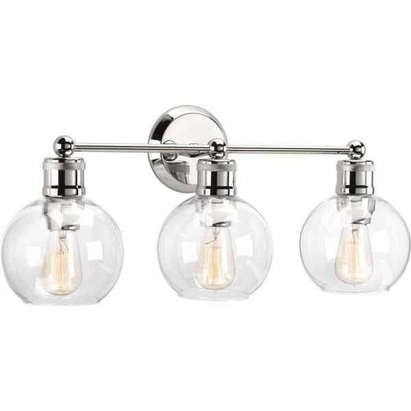 Hansford Collection 3-Light Polished Nickel Bathroom Vanity Light with Clear Globe Shades