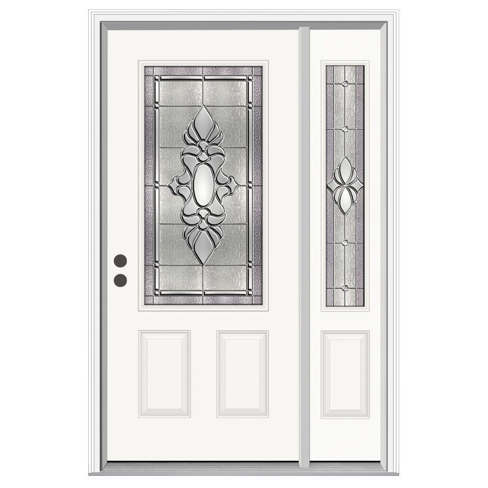 JELD-WEN 50 in. x 80 in. 3/4 Lite Langford Primed Steel Prehung Right-Hand Inswing Front Door with Right-Hand Sidelite
