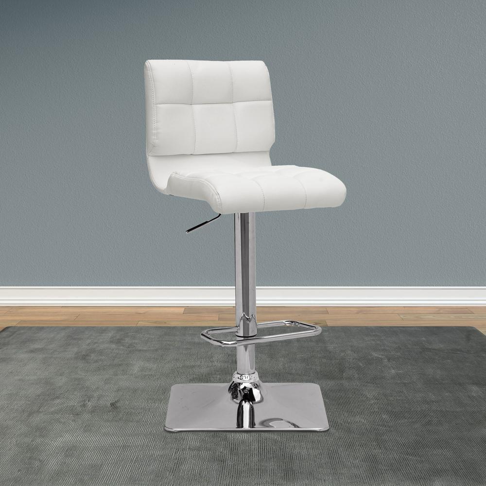 CorLiving Adjustable Height White Bonded Leather Swivel Bar Stool (Set of