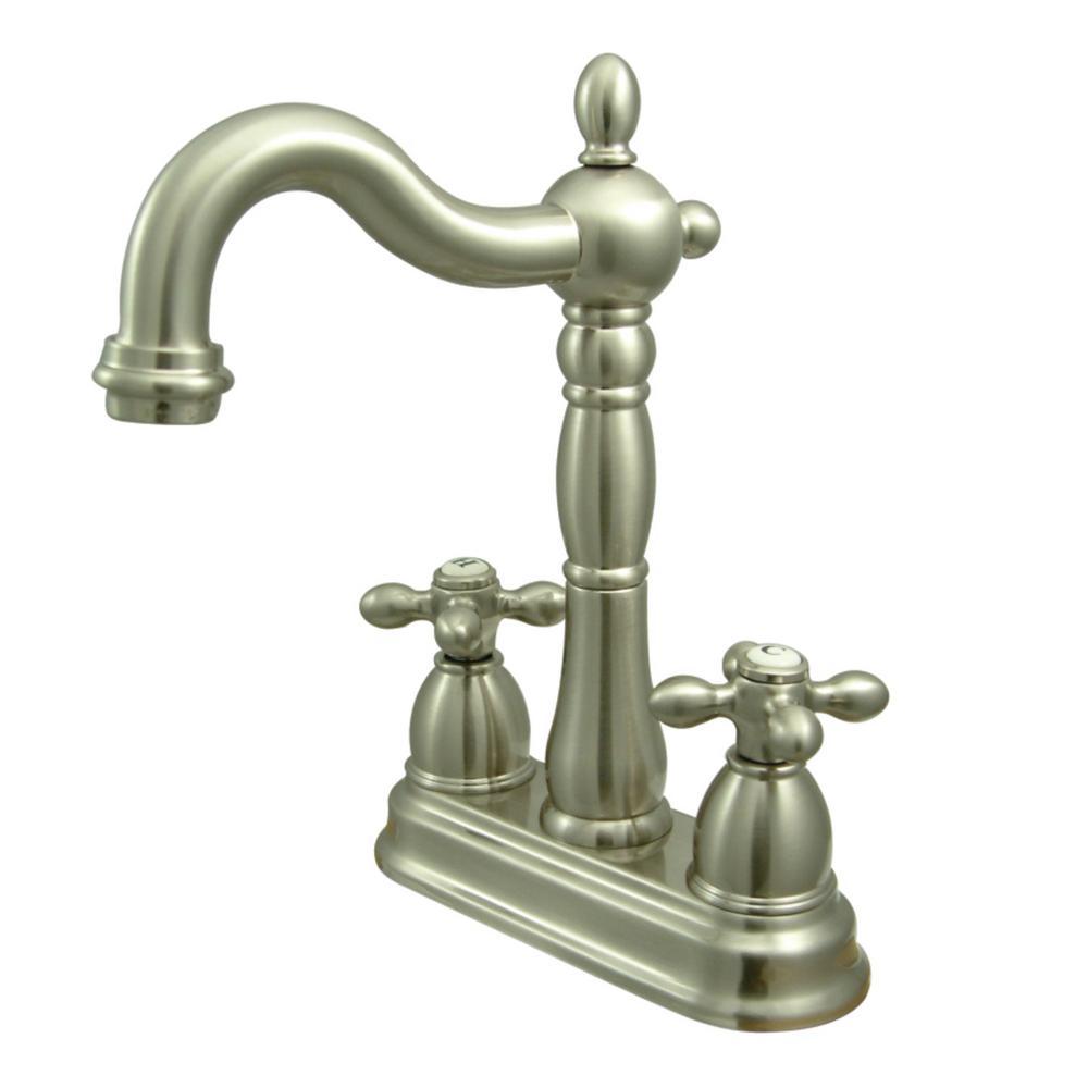 Heritage 2-Handle Bar Faucet in Brushed Nickel