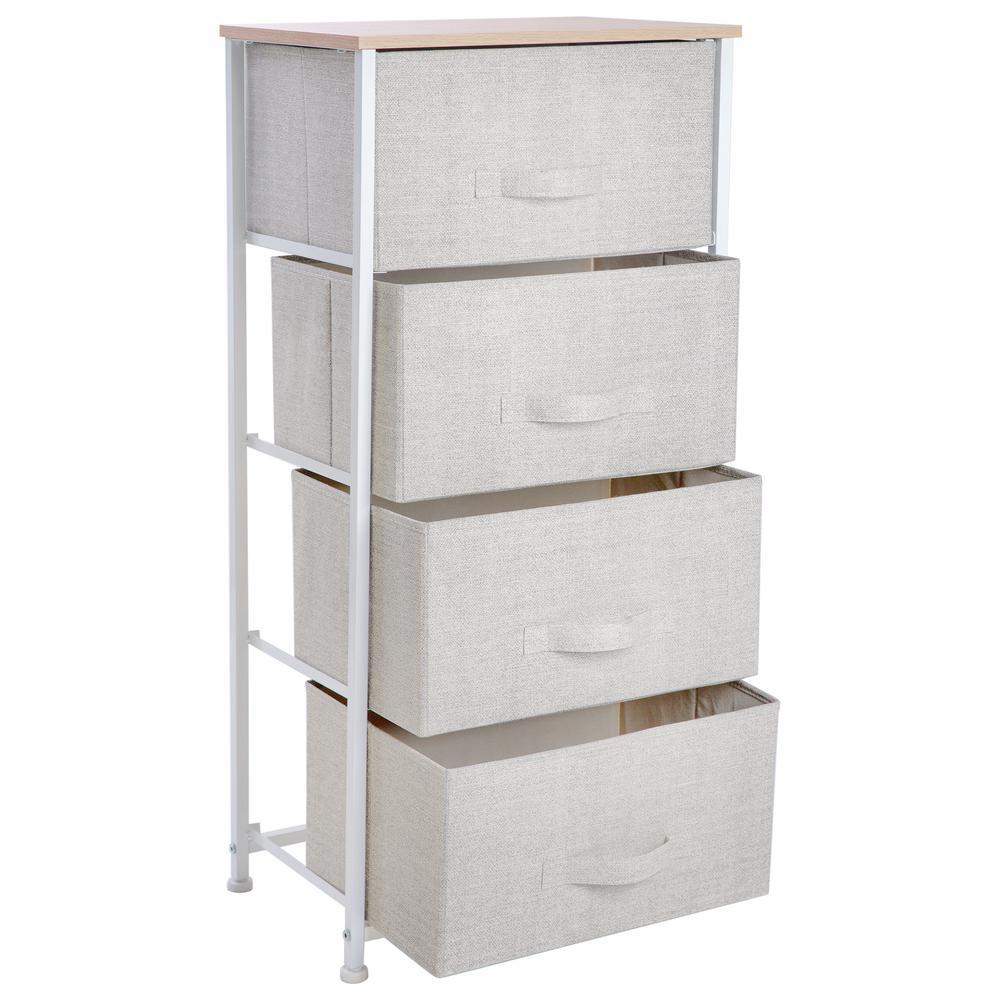 17.7 in. x 11.8 in. x 37.4 in. 4-Drawer Storage Chest in Beige