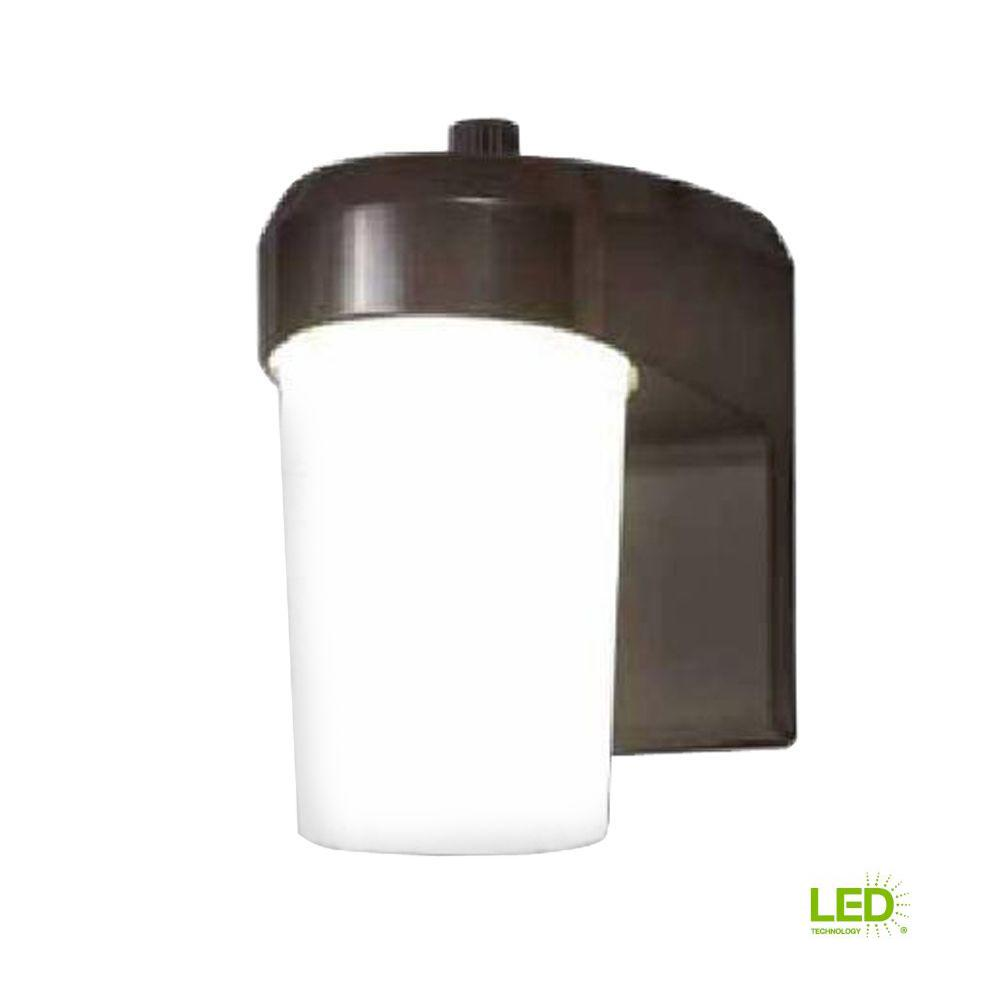 Bronze Outdoor Integrated LED Entry and Patio Light with Dusk to