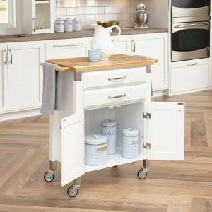 Home Styles Dolly Madison White Kitchen Cart With Natural Wood Top by Home Styles
