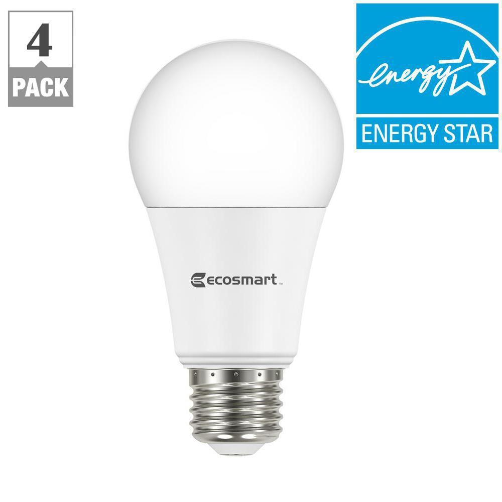 ecosmart 75w equivalent soft white a19 dimmable led light bulb 4 pack 5bsa1100stq1d01 the home depot - Ecosmart Led Christmas Lights