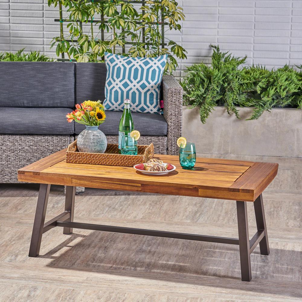 Carlisle Sandblast Finish Wood and Rustic Iron Rectangular Outdoor Coffee Table