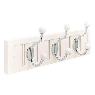 18 in. White Wood Beadboard Rack with Polished Chrome and White Hooks