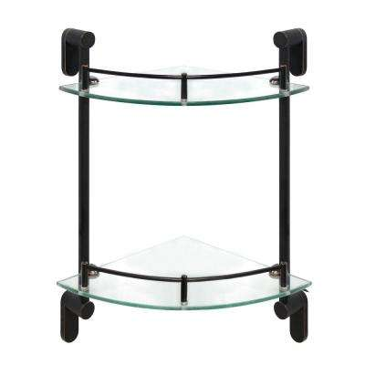 Oval 10.5 in. W Double Glass Corner Shelf with Pre-Installed Rails in Rubbed Bronze