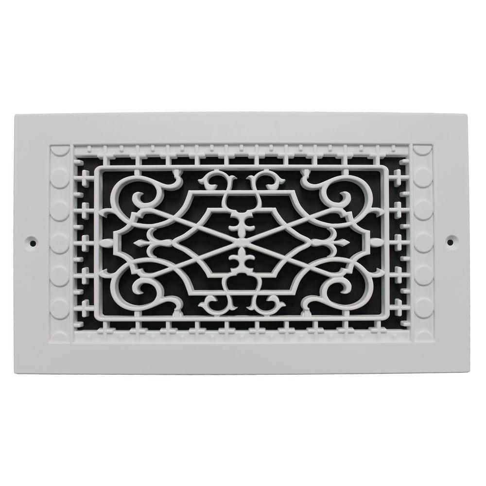 Smi Ventilation Products Victorian Wall Mount 12 In X 6 Opening 8 14 Overall Size Polymer Decorative Return Air Grille White