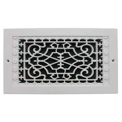 Victorian Wall Mount 6 in. x 12 in. Opening, 8 in. x 14 in. Overall Size, Polymer Decorative Return Air Grille, White