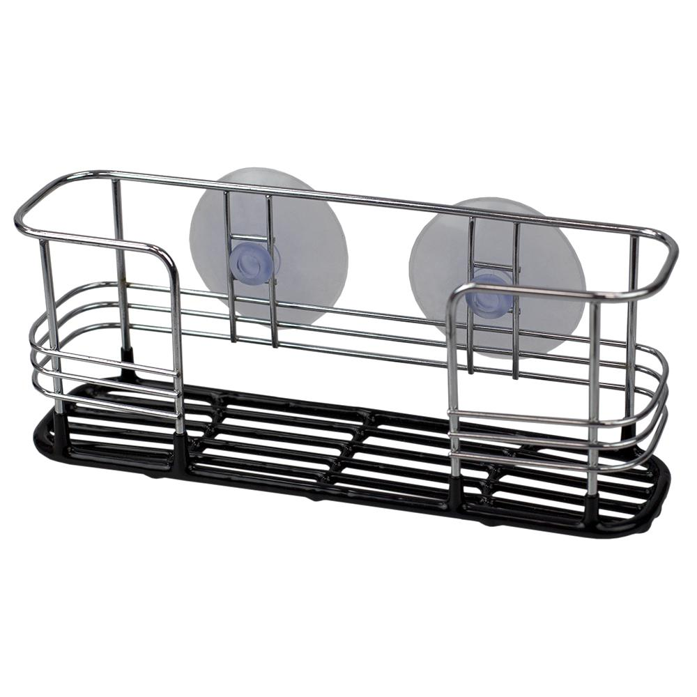 Vinyl Dipped Steel Sponge Holder with Suction Cups in Black