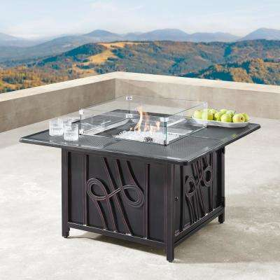 42 in. Square Aluminum Outdoor Propane Fire Table with Wind Blockers, Fire Beads, Lid, and Covers in Copper Finish